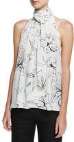 Diane von Furstenberg Sleeveless High-Neck Silk Blouse