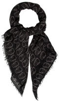 Zadig & Voltaire Raw-Edge Skull Scarf