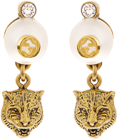 Gucci Faux-pearl embellished feline-drop earrings