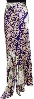 Roberto Cavalli Purple Floral Print Silk Satin Flared Maxi Skirt L