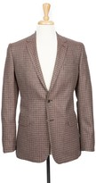 Boga Plum Wine & Stone Check Notch Lapel Modern Fit Cashmere Blazer