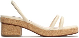 ALEXACHUNG Cork-trimmed Lizard-effect Leather Sandals