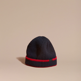 Burberry Ribbed Cashmere Tipped Beanie, Blue