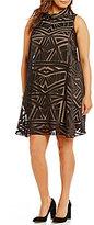 Vince Camuto Plus Roll Collar Float Burnout Dress