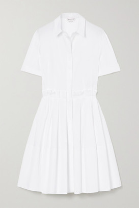 Alexander McQueen Pleated Cotton-poplin Shirt Dress - White