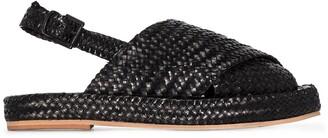 ST. AGNI Woven-Effect Slingback Sandals