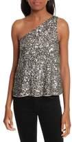Joie Hedra One-Shoulder Sequin Top