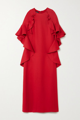 Giambattista Valli Cape-effect Ruffled Cotton-blend Crepe Gown - Red