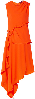 Sies Marjan Helena Asymmetric Ruffled Stretch-crepe Dress