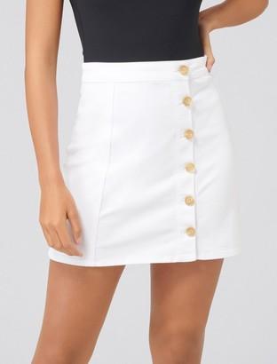 Forever New Regina A-Line Button Denim Skirt - White - 4