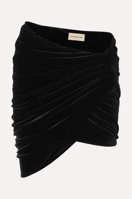 Alexandre Vauthier Draped Stretch-velvet Mini Skirt - Black