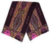Etro Wool & Silk-Blend Paisley Print Scarf
