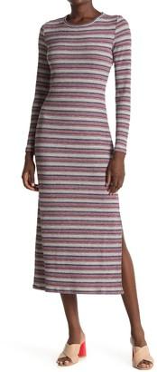 1 STATE Striped Long Sleeve Rib Knit Midi Dress