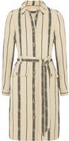 Tory Burch Emilynn striped slub silk-blend shirt dress