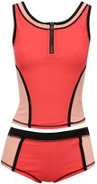 M&Co Colour block zip front tankini
