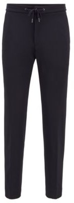 HUGO BOSS Slim-fit trousers in stretch fabric with drawstring waist
