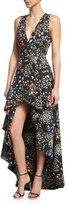 Alice + Olivia Aveena Sleeveless Floral-Print High-Low Gown