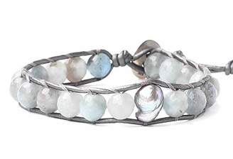 Chan Luu Aqua Mineral Stone and Grey Simulated Pearl Beaded Mix Silvertone Single Wrap Bracelet Style