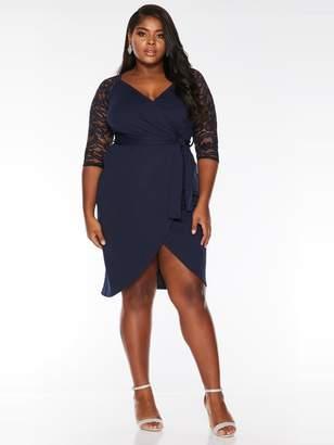 Quiz Curve Curve Lace Three-Quarter Sleeve Wrap Midi Dress - Navy