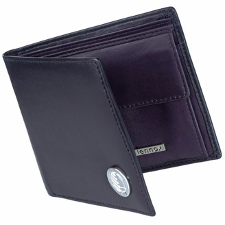 Drew Lennox Luxury English Leather Men's Billfold Wallet In Black & Purple