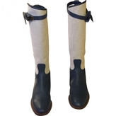 Hermes Blue Leather Boots