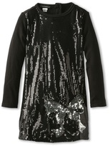 Kate Mack Bow Bling Sequin Dress (Little Kids) (Black) Girl's Dress