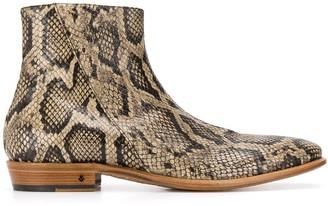 John Varvatos Snakeskin Ankle Boots