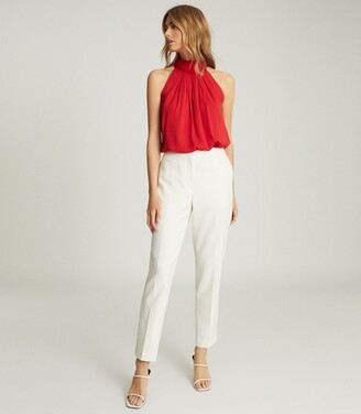 Reiss Daniella - High Neck Sleeveless Top in Red