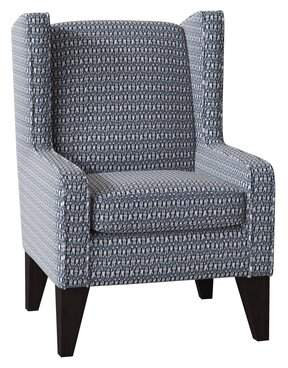 "Latitude Run Harlesden 22"" Wingback Chair Latitude Run Body Fabric: Denim Blue-23042, Leg Color: Riverloom"