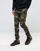 Asos Skinny Rouched Leg Joggers in Camo Print