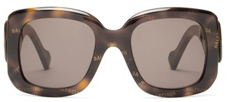 Balenciaga Paris Monogram Square Acetate Sunglasses - Womens - Tortoiseshell