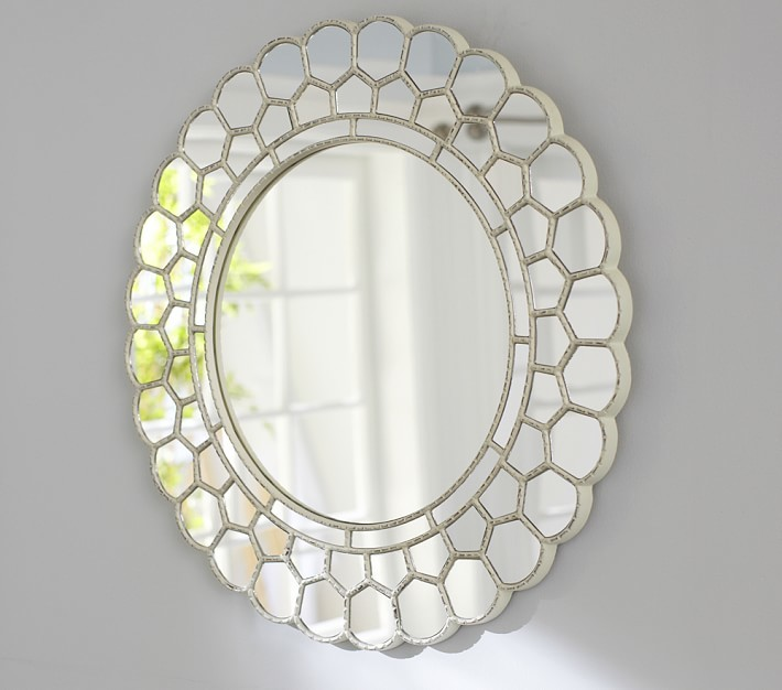 Pottery Barn Kids White Circle Blossom Mirror