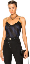 Alexander Wang Pleated Camisole Top with Lace Trim in Black.
