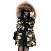 EOCEAN Women's Hooded Down Jacket Detachable Fur Collar (L)