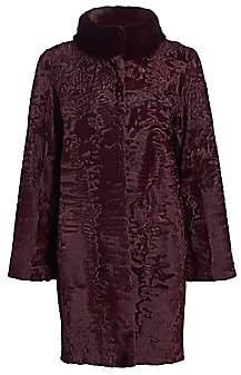 The Fur Salon Women's Mink-Trimmed Lamb Coat