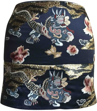 Blumarine Blue Silk Skirt for Women Vintage