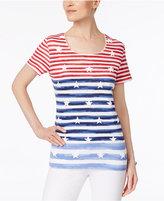 Karen Scott Puff-Print Striped Top, Only at Macy's
