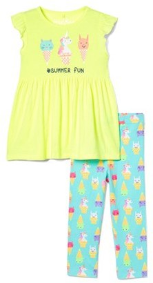 Freestyle Revolution Girls Peplum Graphic Top and Capri Legging, 2-Piece Outfit Set, Sizes 4-6X