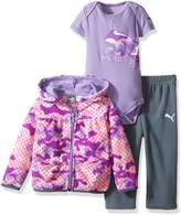Puma Baby Girls' 3 Piece Hoodie, Bodysuit, Pant Set