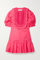 Thumbnail for your product : Self-Portrait Crochet-trimmed Ruffled Cotton-poplin Mini Dress - Bright pink