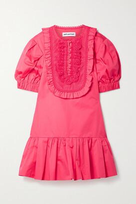 Self-Portrait Crochet-trimmed Ruffled Cotton-poplin Mini Dress - Bright pink