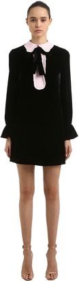 VIVETTA Velvet Mini Dress W/ Contrasting Collar