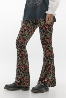 Urban Renewal Vintage Inspired By Vintage Curtain Floral Velvet Flare Trousers - black S at Urban Outfitters