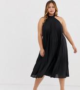 Asos DESIGN Curve backless halter pleated midi dress