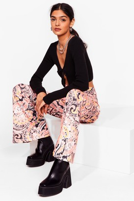 Nasty Gal Womens Paisley No Attention High-Waisted Flare Trousers - Orange - 6