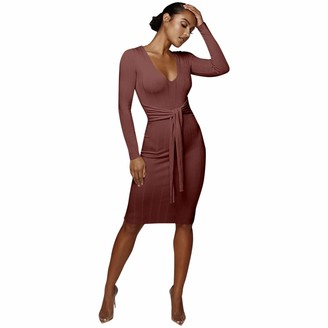 hollywin Ladies Classic Plain Tie Waist Long Sleeve Bodycon Cocktail Party Dress Coffee