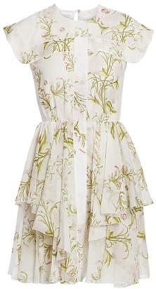 Giambattista Valli Cap-Sleeve Silk Ruffle Dress