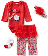 Starting Out Baby Girls Newborn-9 Months Bicycle-Appliqued 4-Piece Layette Set