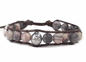 Chan Luu Matte Brown Mineral Stone and Grey Simulated Pearl Beaded Mix Silvertone Single Wrap Bracelet Style