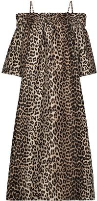 Ganni Leopard-Print Off-Shoulder Dress